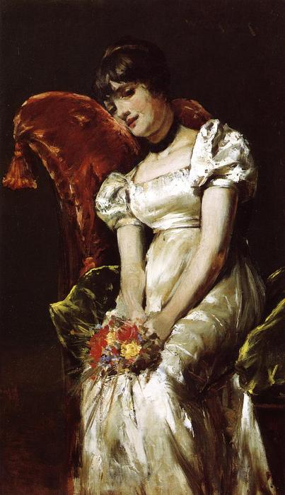 famous painting Young Girl with Flowers of William Merritt Chase