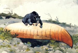 Winslow Homer - Bear and Canoe