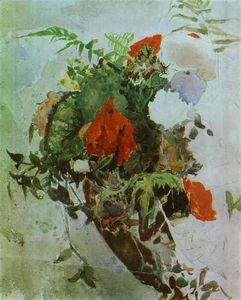 Mikhail Vrubel - Red Flowers and Leaves of Begonia in a Basket