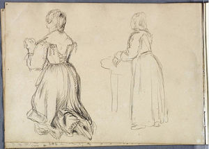Thomas Cole - Study, Kneeling Woman; Standing Woman