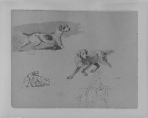 Thomas Sully - Five Dogs; Two Figures