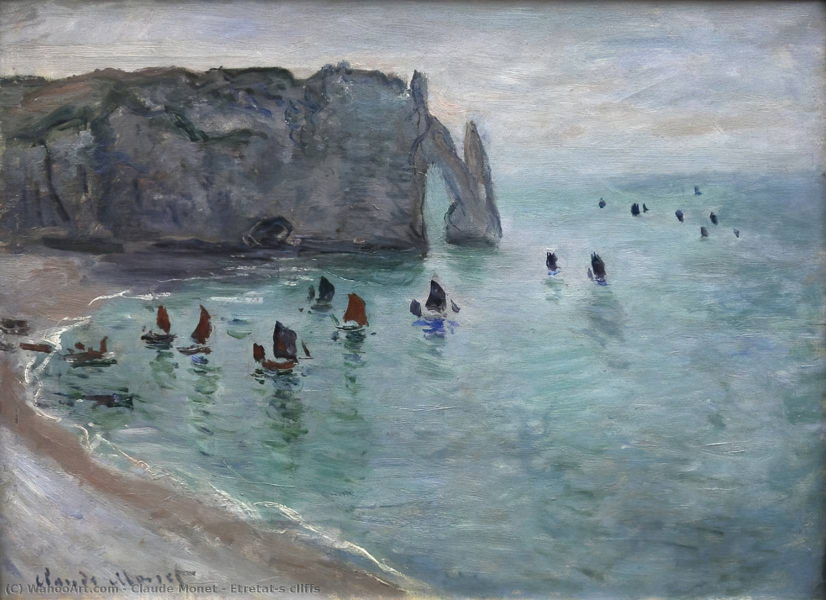 famous painting Etretat's cliffs of Claude Monet