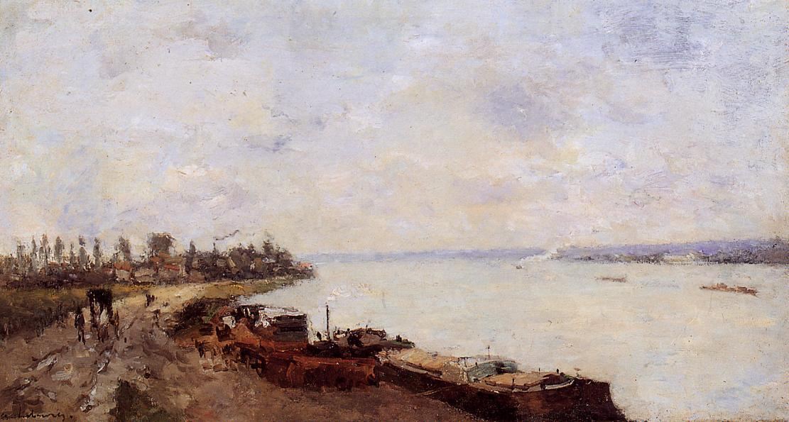 famous painting Barges on the Seine, near Paris of Albert-Charles Lebourg (Albert-Marie Lebourg)