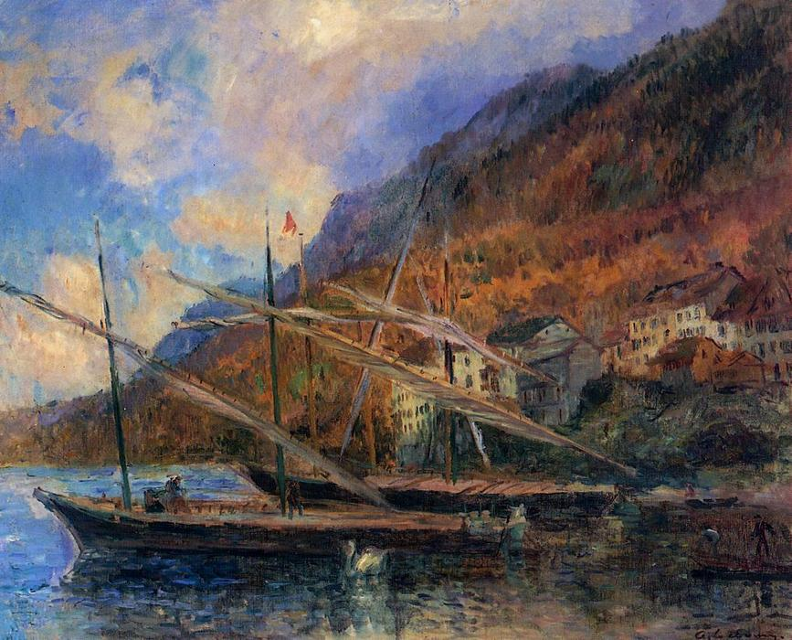 famous painting Boats by the Banks of Lake Geneva at Saint-Gingolph of Albert-Charles Lebourg (Albert-Marie Lebourg)