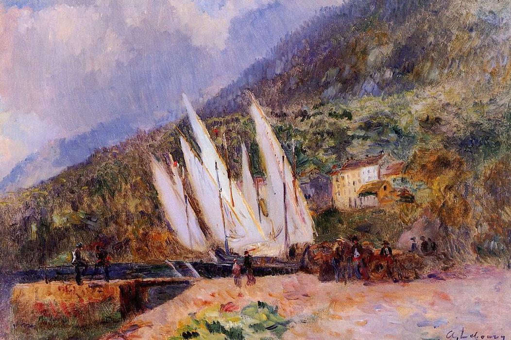 famous painting Boats Docked at Saint-Gingolph of Albert-Charles Lebourg (Albert-Marie Lebourg)