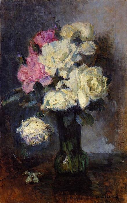 famous painting Bouquet of Roses in a Vase of Albert-Charles Lebourg (Albert-Marie Lebourg)
