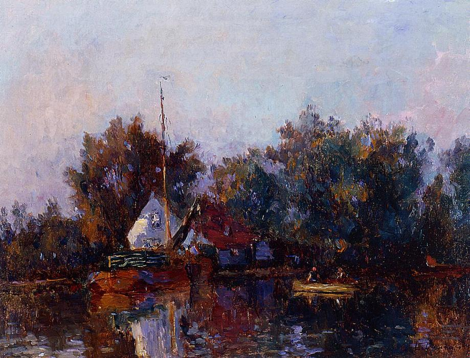 famous painting Canal in Holland near Rotterdam of Albert-Charles Lebourg (Albert-Marie Lebourg)