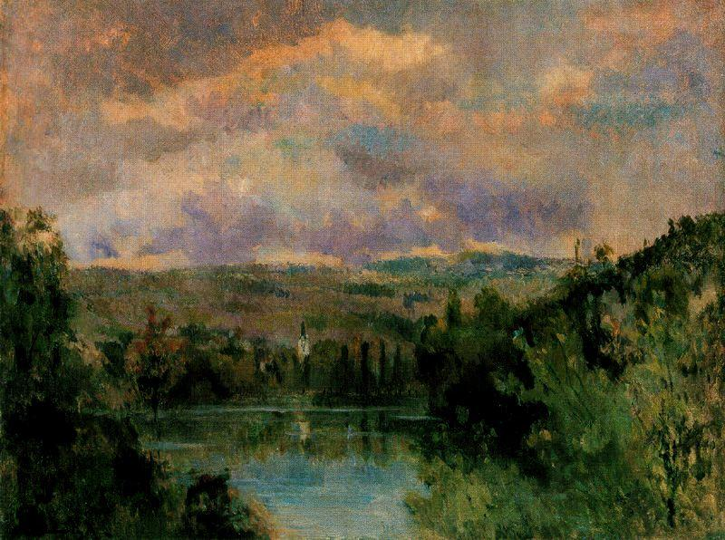 famous painting Edge of the Ain River of Albert-Charles Lebourg (Albert-Marie Lebourg)