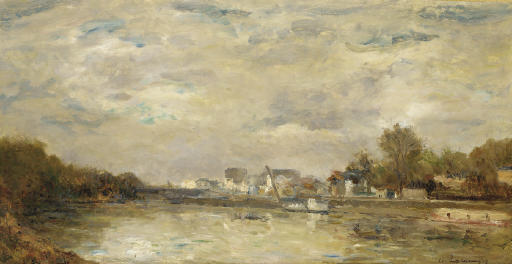 famous painting Le Canal of Albert-Charles Lebourg (Albert-Marie Lebourg)