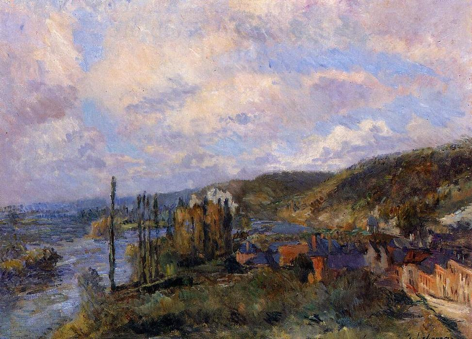 famous painting Near Rouen. the Cliffs of Saint-Adrien of Albert-Charles Lebourg (Albert-Marie Lebourg)