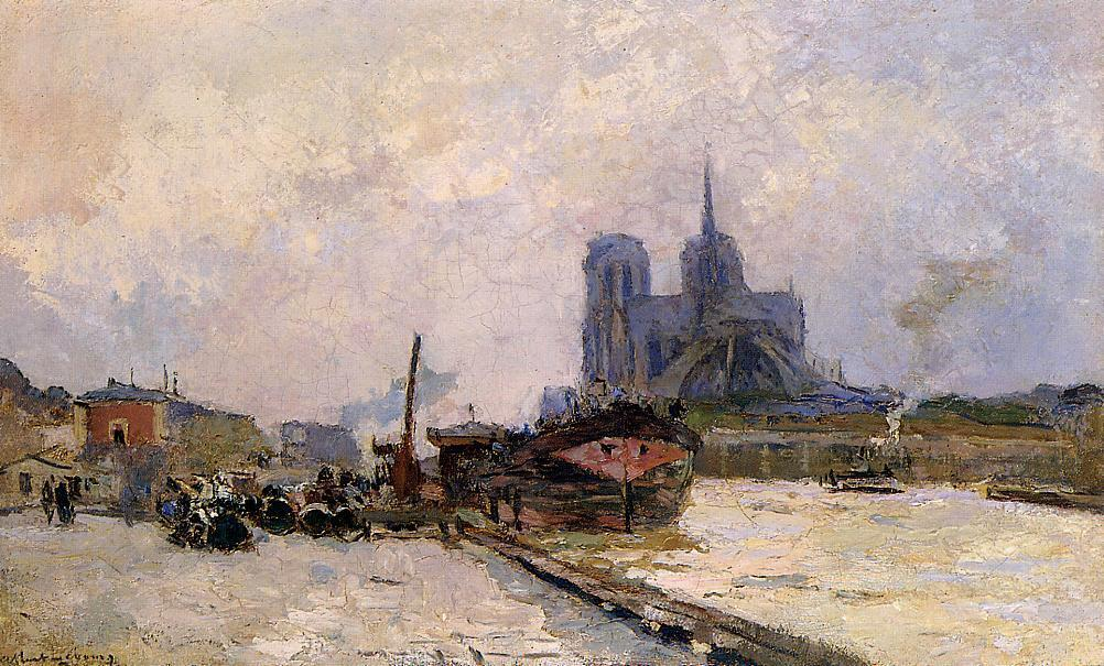 famous painting Notre Dame de Paris, View from Pont de la Tournelle of Albert Charles Lebourg