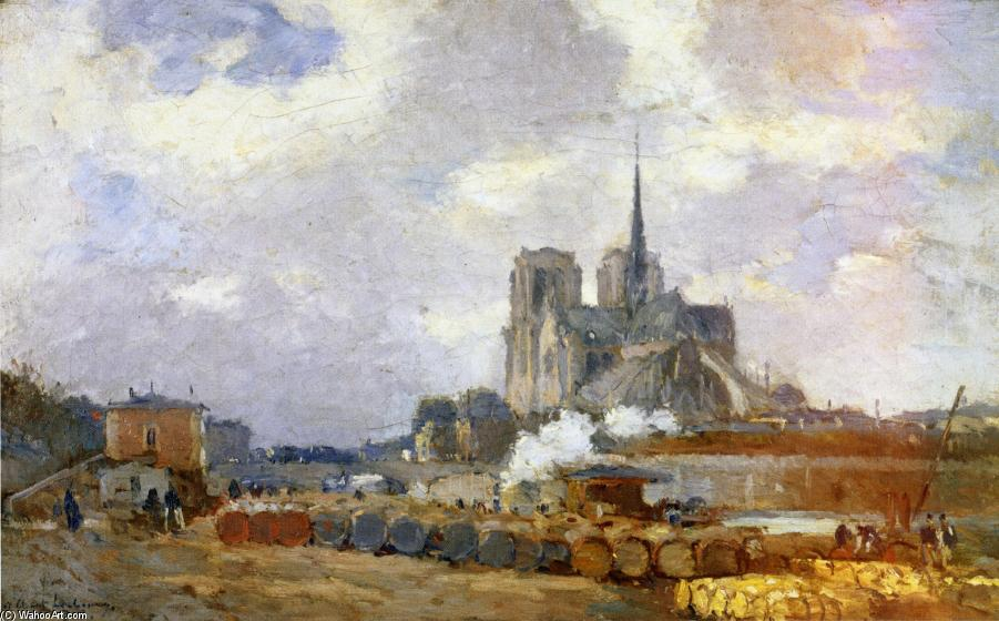 famous painting Notre Dame de Paris, View from the Quai de la Tournelle of Albert Charles Lebourg