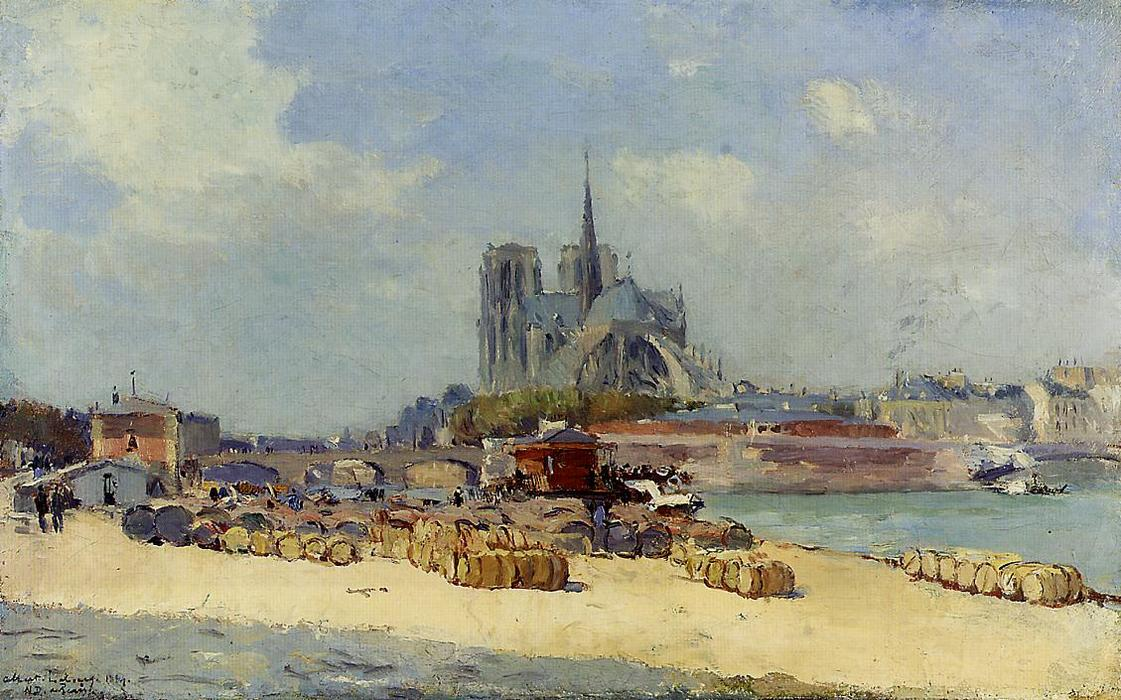 famous painting Notre Dame, Paris of Albert Charles Lebourg