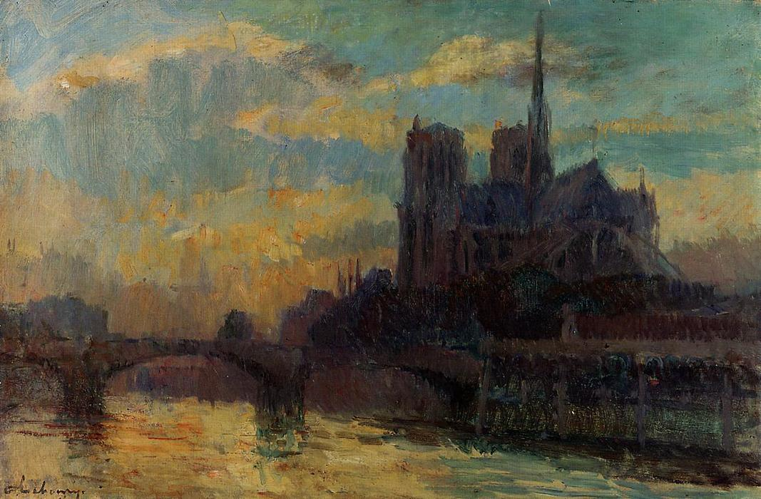 famous painting Notre-Dame, Paris of Albert-Charles Lebourg (Albert-Marie Lebourg)