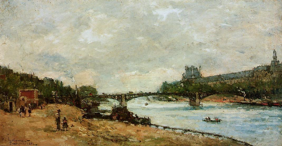 famous painting Paris, the kBridge of Saint-Peres of Albert Charles Lebourg