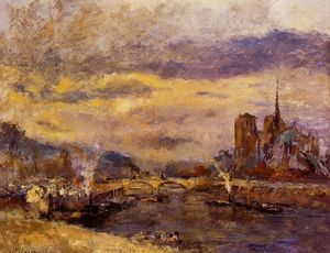 Albert-Charles Lebourg (Albert-Marie Lebourg) - Paris the Seine and Notre Dame
