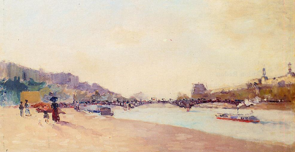 famous painting Paris, the Seine and the Pont des Saint-Peres, with the Louvre of Albert-Charles Lebourg (Albert-Marie Lebourg)