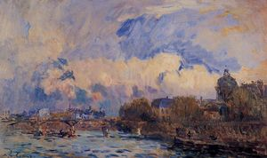 Albert-Charles Lebourg (Albert-Marie Lebourg) - Paris, the Seine at Pont des Arts and the Institute