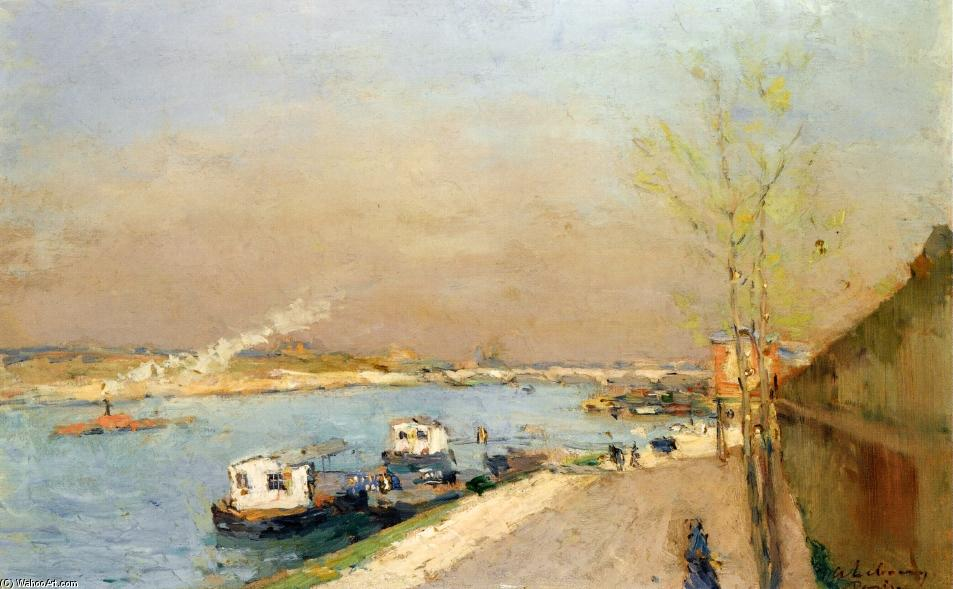 famous painting Quay on the Seine, Spring Morning of Albert-Charles Lebourg (Albert-Marie Lebourg)
