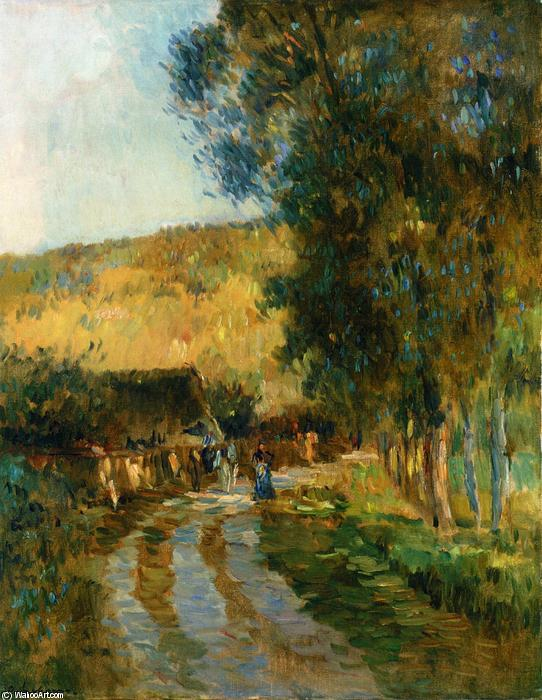 famous painting Road in the Vallee de LIton of Albert-Charles Lebourg (Albert-Marie Lebourg)