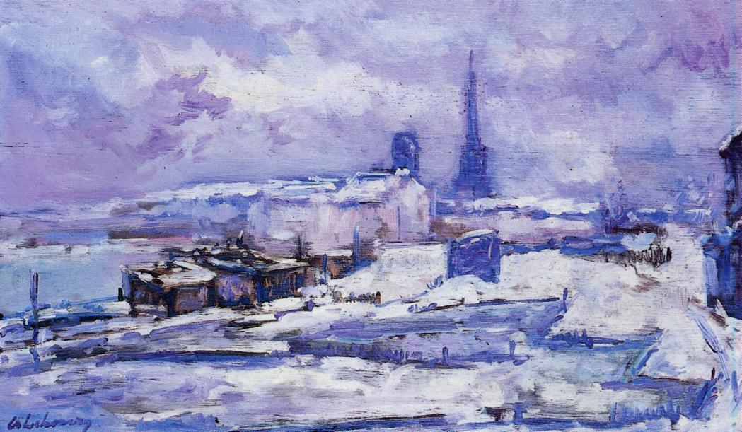 famous painting Rouen, Snow Effect of Albert-Charles Lebourg (Albert-Marie Lebourg)