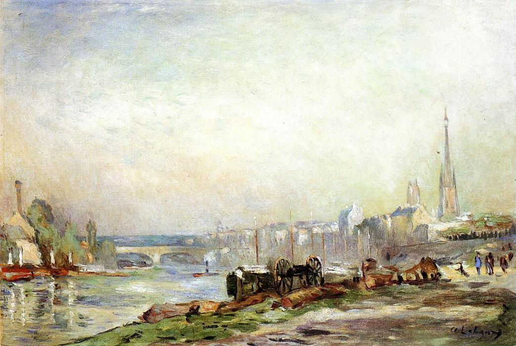 famous painting Rouen, the Seine and the Cathedral of Albert-Charles Lebourg (Albert-Marie Lebourg)