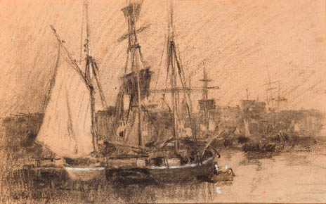 famous painting Ships in a French port of Albert-Charles Lebourg (Albert-Marie Lebourg)