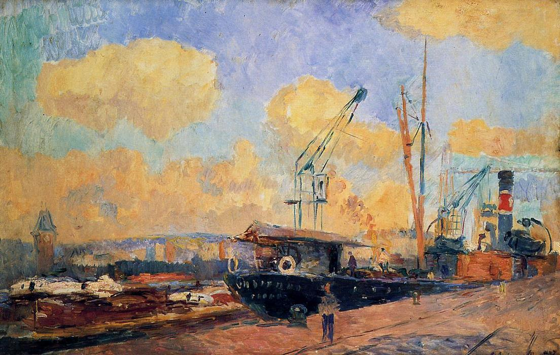 famous painting Steamers and Barges in the Port of Rouen, Sunset of Albert-Charles Lebourg (Albert-Marie Lebourg)