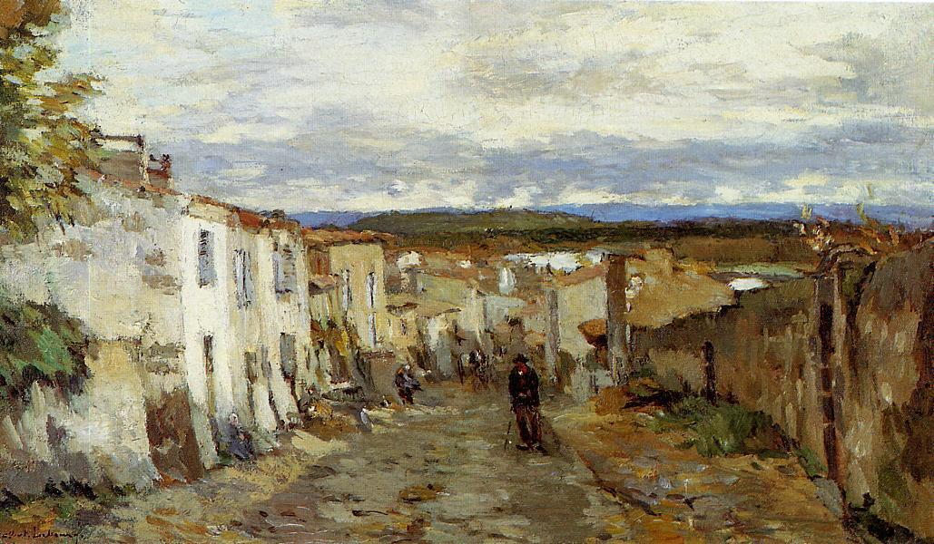 famous painting Street in Pont du Chateau of Albert-Charles Lebourg (Albert-Marie Lebourg)