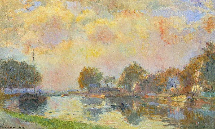 famous painting The Banks of the Canal at Charenton, Sunny Autumn Afternoon of Albert-Charles Lebourg (Albert-Marie Lebourg)