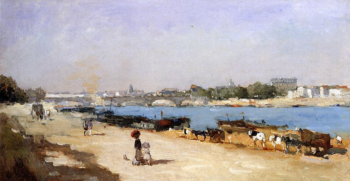 famous painting The Banks of the Seine at Bercy of Albert-Charles Lebourg (Albert-Marie Lebourg)