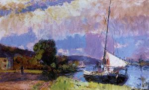 Albert-Charles Lebourg (Albert-Marie Lebourg) - The Banks of the Seine. Caumont in Summer