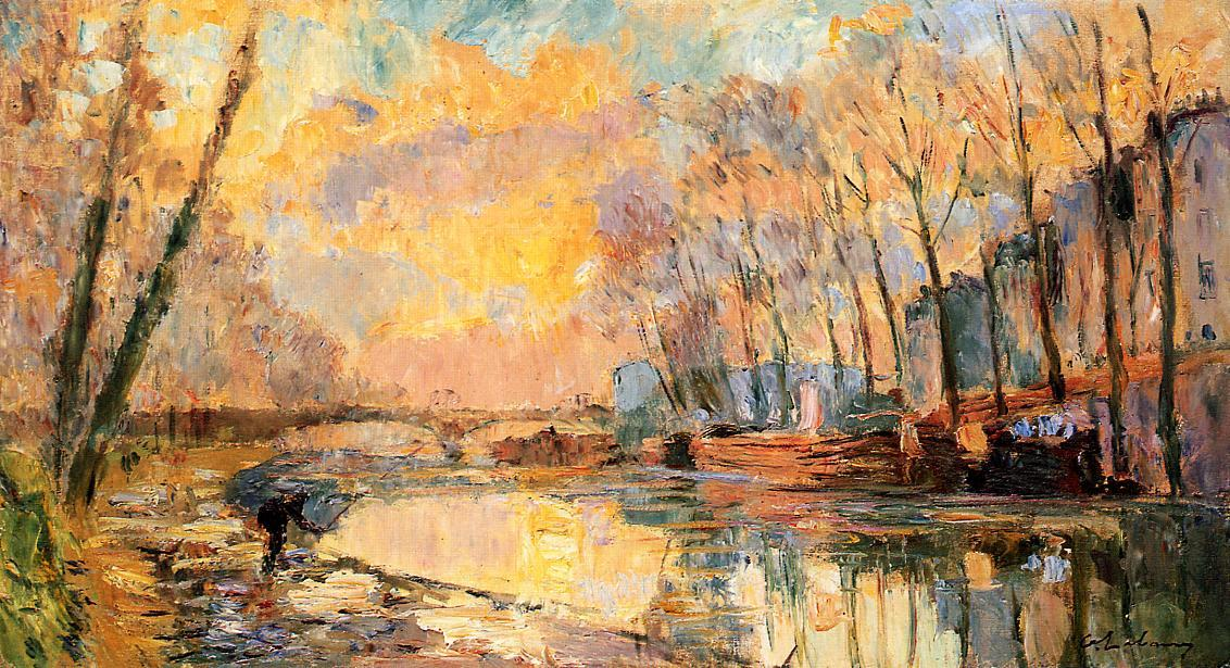 famous painting The Canal at Charenton of Albert-Charles Lebourg (Albert-Marie Lebourg)