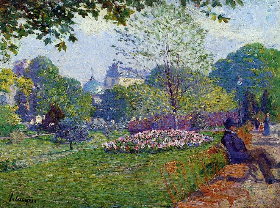 famous painting The Parc Monceau of Albert-Charles Lebourg (Albert-Marie Lebourg)