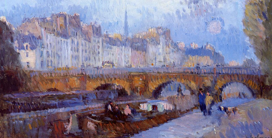 famous painting The Pont Neuf and the Monnaie Lock of Albert Charles Lebourg