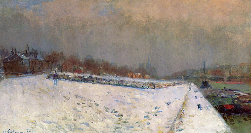 famous painting The Port of Bercy, in Winter, Snow Effect of Albert-Charles Lebourg (Albert-Marie Lebourg)