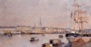 Albert-Charles Lebourg (Albert-Marie Lebourg) - The Port of Rouen with Cathedral