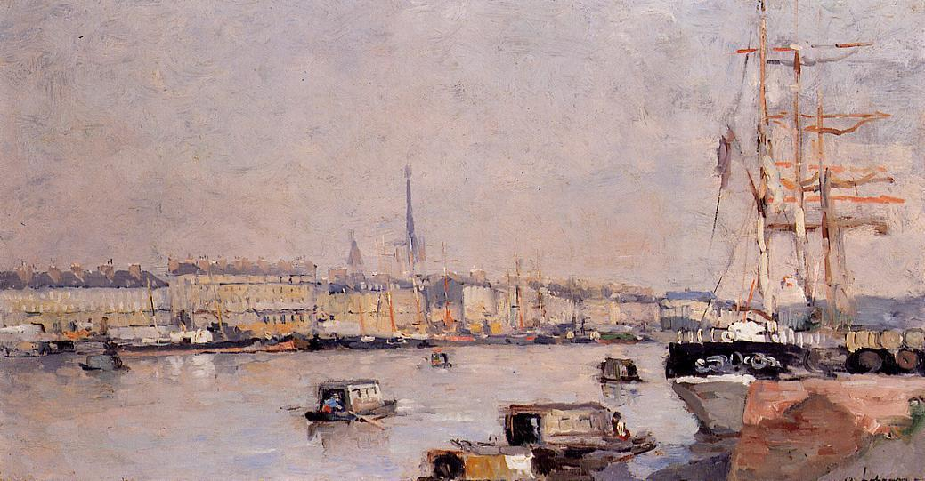 famous painting The Port of Rouen with Cathedral of Albert-Charles Lebourg (Albert-Marie Lebourg)