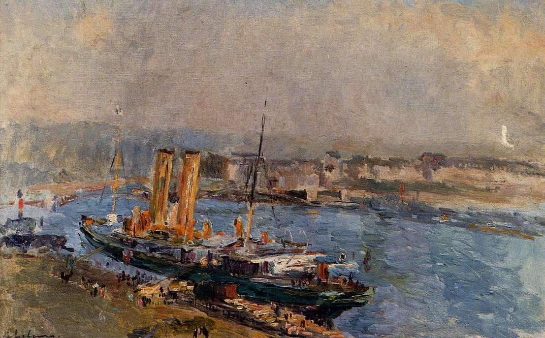 famous painting The Port of Rouen of Albert-Charles Lebourg (Albert-Marie Lebourg)