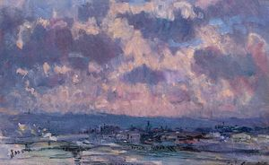 Albert-Charles Lebourg (Albert-Marie Lebourg) - The Seine and the Faubourt Saint-Server, Sky Study