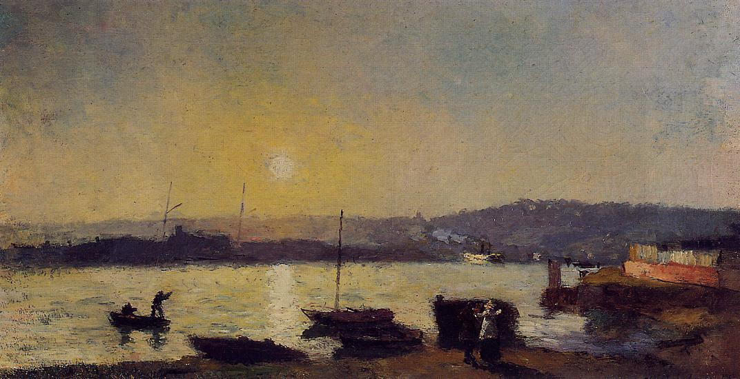 famous painting The Seine at Rouen of Albert-Charles Lebourg (Albert-Marie Lebourg)