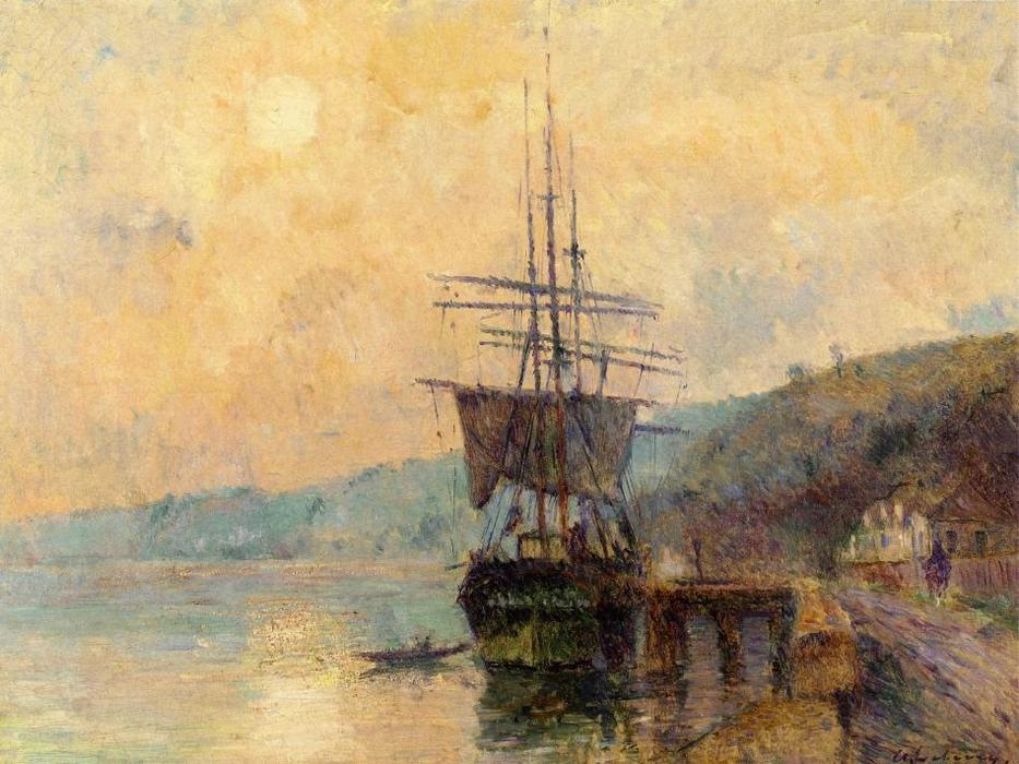 famous painting The Seine near Rouen of Albert-Charles Lebourg (Albert-Marie Lebourg)