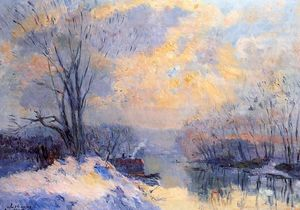Albert-Charles Lebourg (Albert-Marie Lebourg) - The Small Branch of the Seine at Bas Meudon, Snow and Sunlight