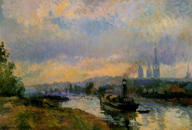 famous painting Tug Boats at Rouen of Albert-Charles Lebourg (Albert-Marie Lebourg)