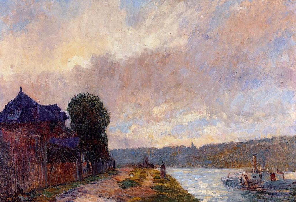 famous painting Tugboat on the Seine Downstream from Rouen of Albert-Charles Lebourg (Albert-Marie Lebourg)