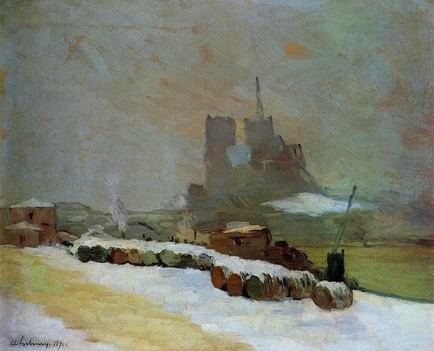 famous painting View of Notre Dame, Winter of Albert-Charles Lebourg (Albert-Marie Lebourg)