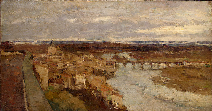 famous painting View of Pont-du-Chateau of Albert-Charles Lebourg (Albert-Marie Lebourg)