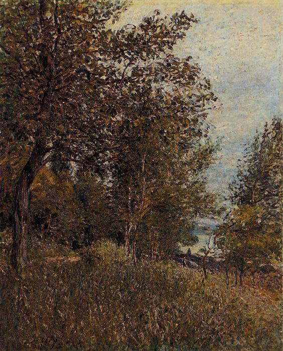 famous painting A Corner of the Roches Courtaut Woods, June of Alfred Sisley