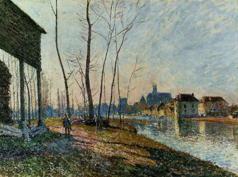famous painting A February Morning at Moret sur Loing of Alfred Sisley