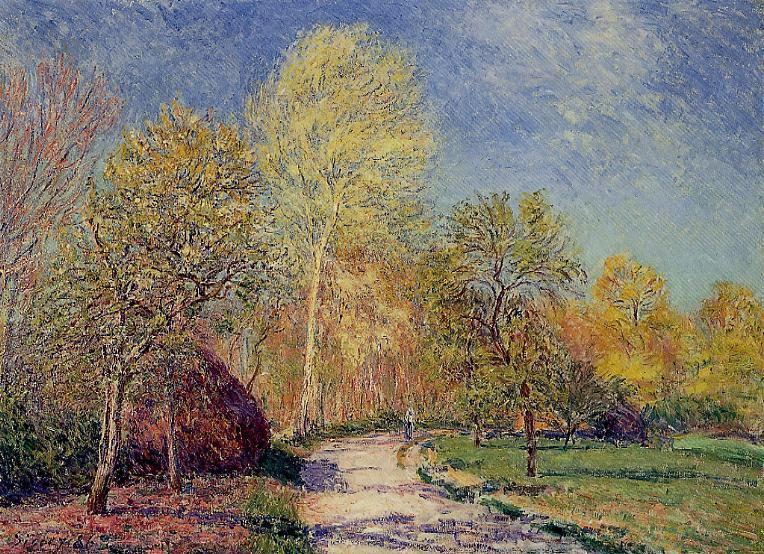 famous painting A May Morning in Moret of Alfred Sisley